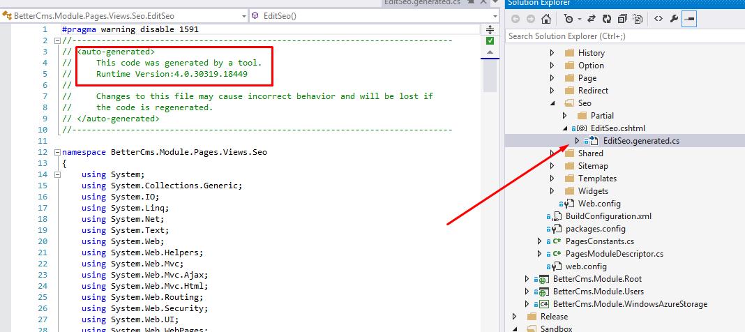 Razor Generator's generated .cs file