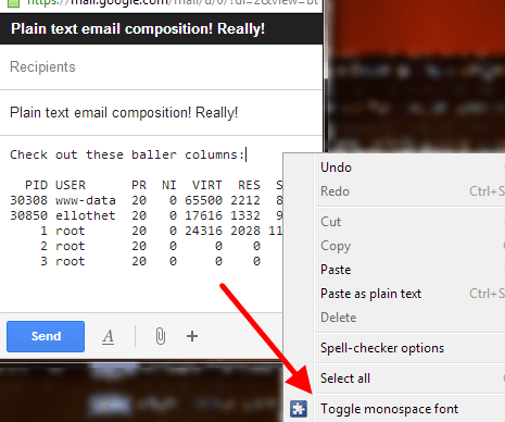 context menu for any editable element