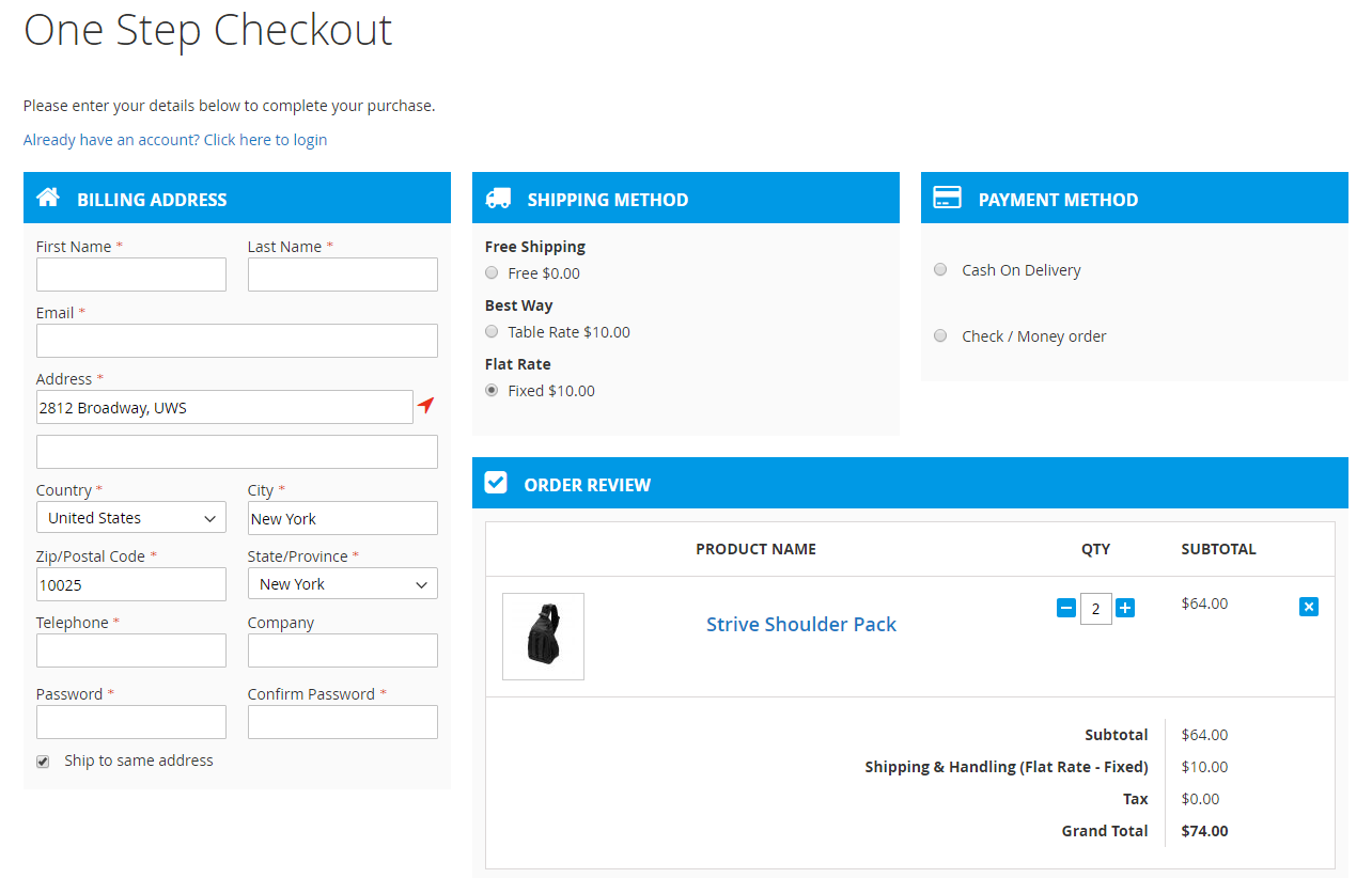 magento 2 one page checkout