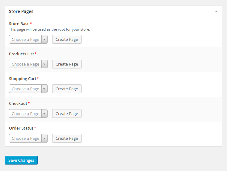MarketPress - Store Settings - Create Store Pages