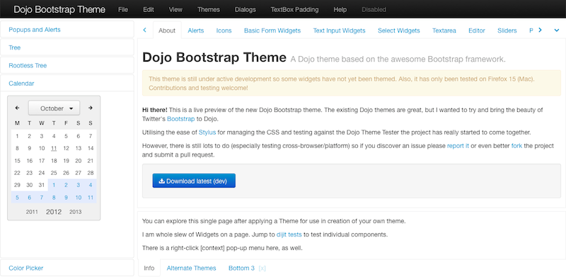 GitHub - atoha/dbootstrap: Bootstrap theme for Dojo