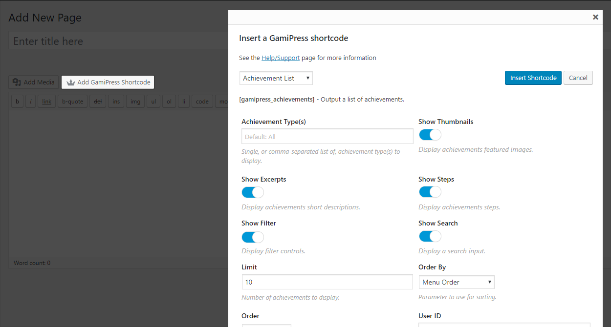 Live shortcode editor appears in the toolbar of all WordPress content editor areas, allowing you to transform any page or post into part of your gamification system without referencing any of the shortcodes