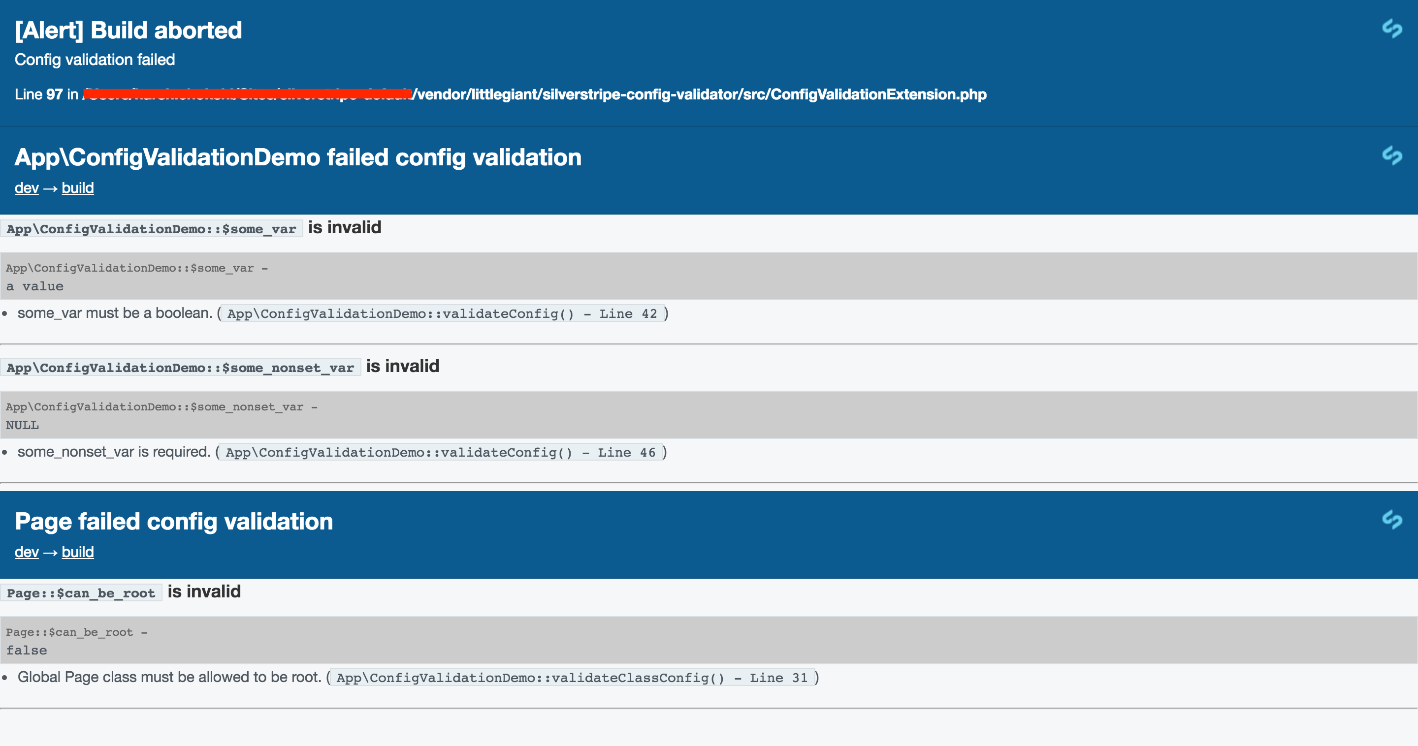 Screenshot of config validation failure screen