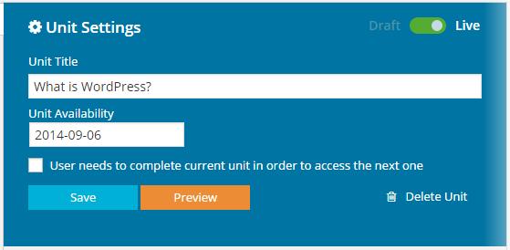 CoursePress - Course - Units - Unit Settings