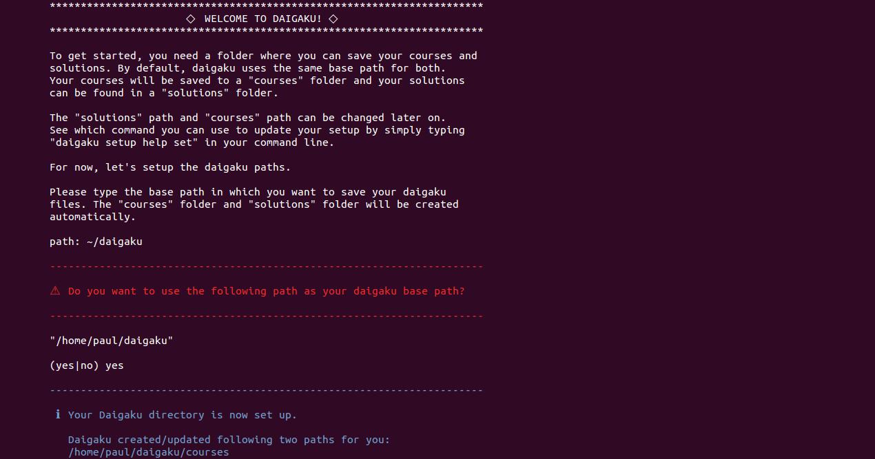 Daigaku CLI screenshot