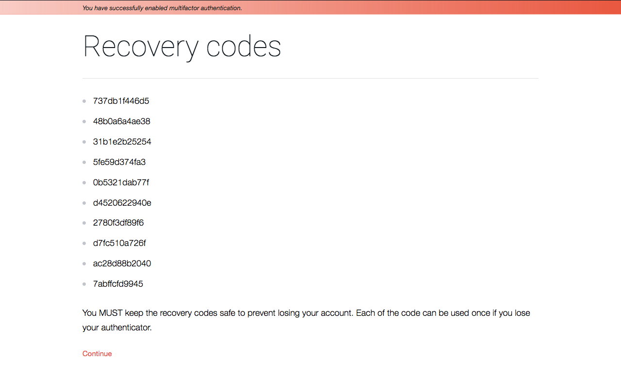 Recovery codes after successfully enabled