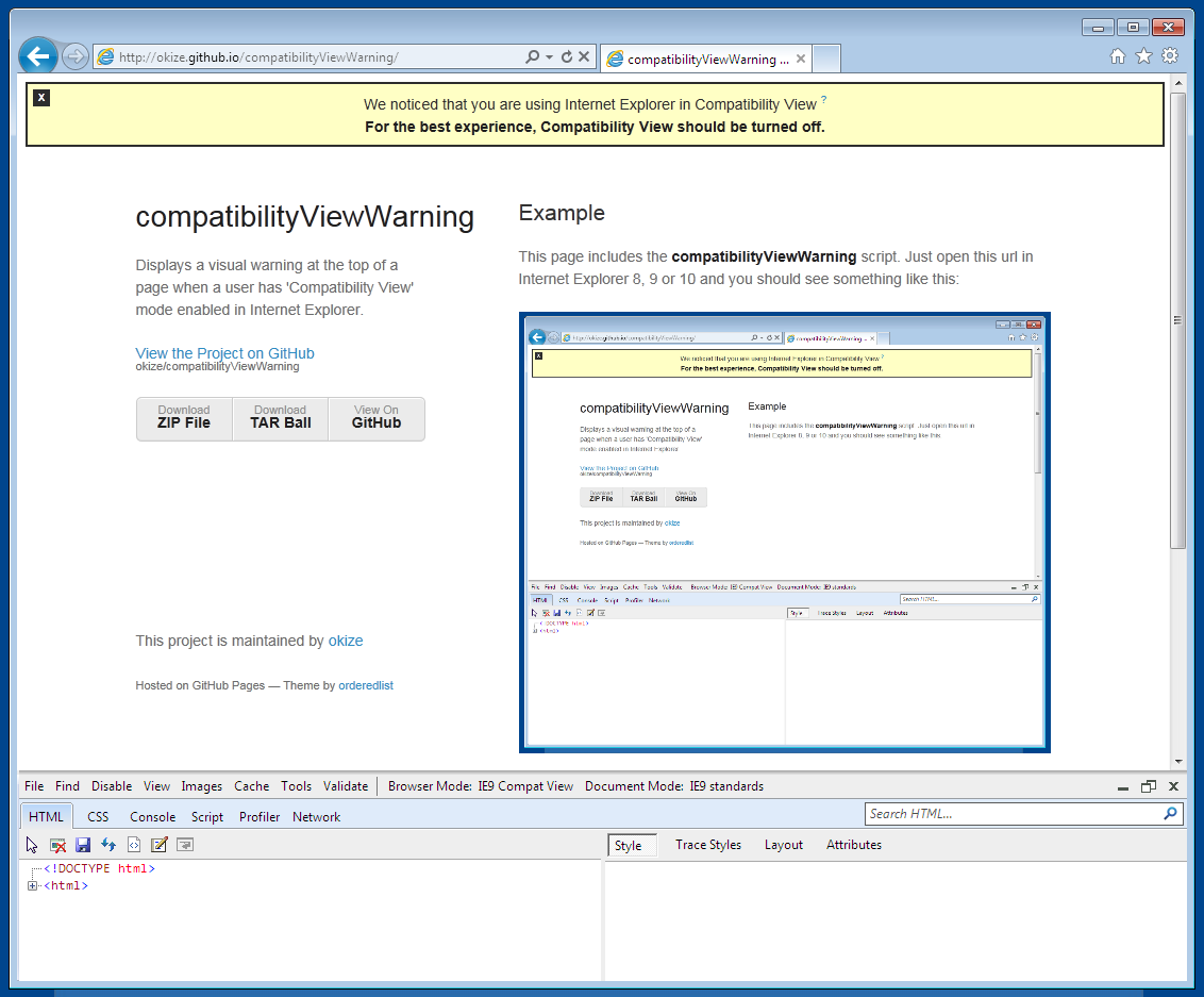 compatibilityViewWarning in action