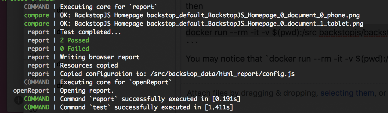 BackstopJS cli report