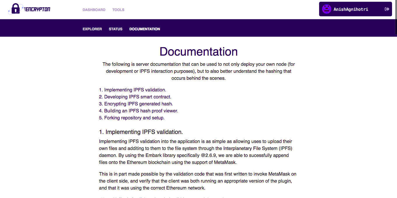 Documentation Page
