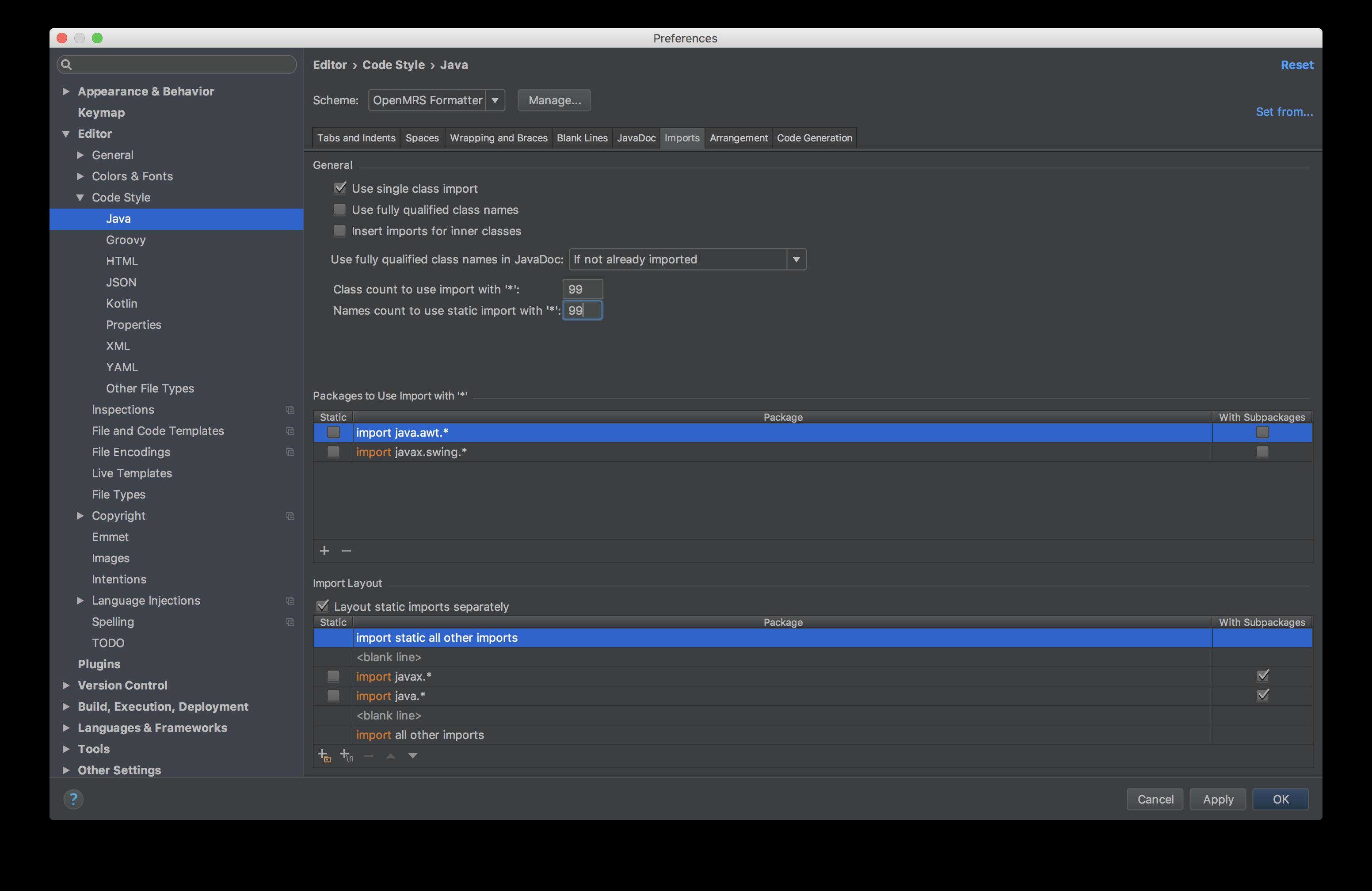 Java:Imports settings