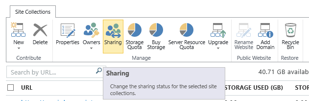 Sharing button in the SharePoint site collection list