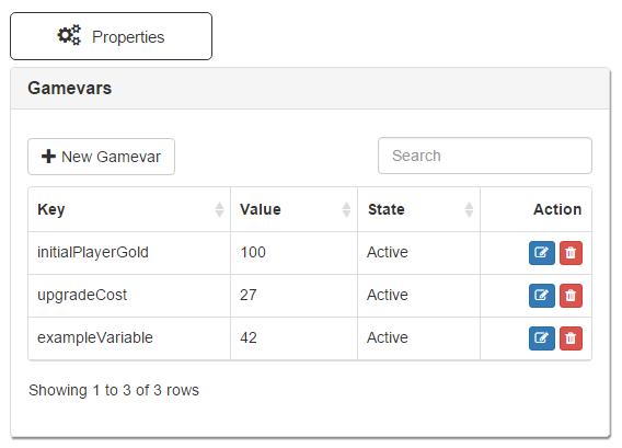 Properties - Gamevars
