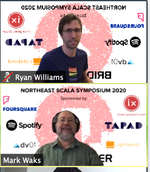 """NE Scala organizers chatting in the """"webinar"""", complete with fancy """"virtual backgrounds""""; Zoom mirrors your view of your own background, to facilitate any interacting with it you may like to do 😂"""