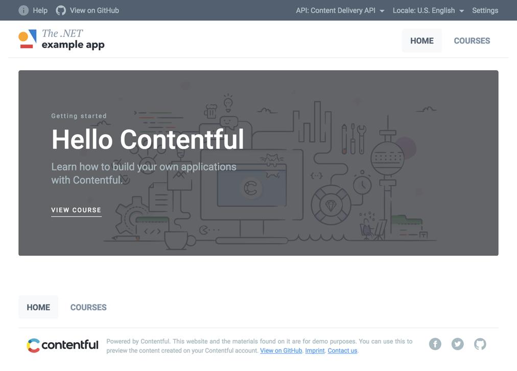 Screenshot of the example app
