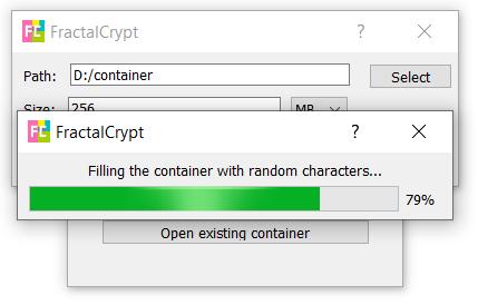 Creating new container window screenshot