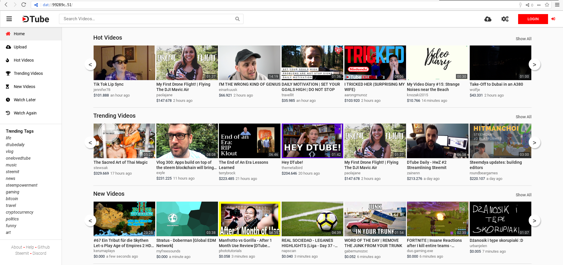 DTube Homepage Preview
