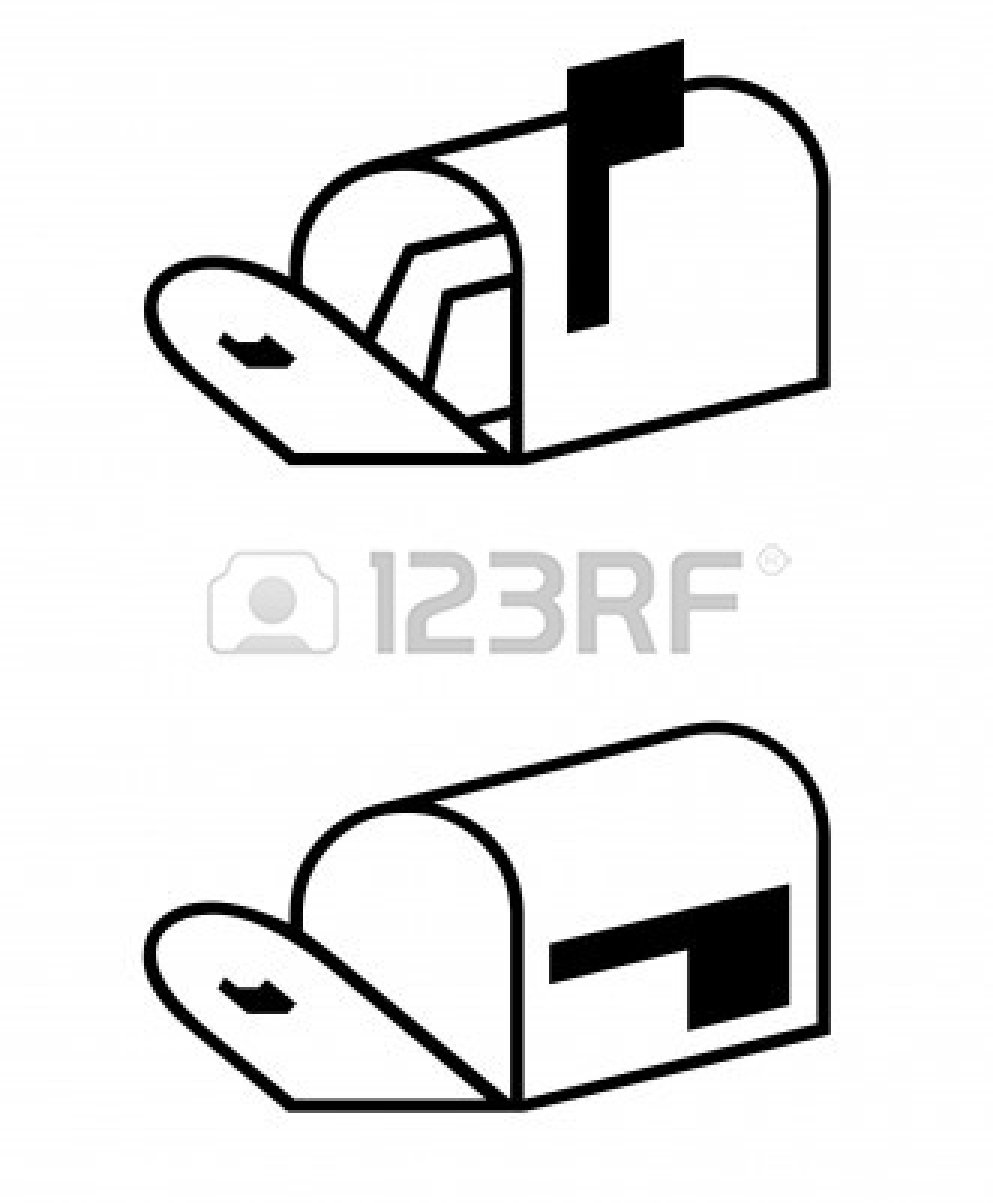 6778986-silhouette-of-two-post-or-mail-boxes-one-containing-letters-isolated-on-white-background