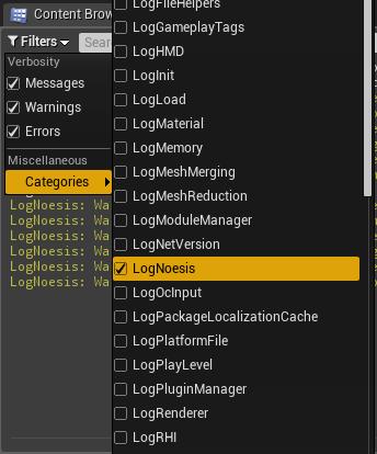 Unreal Engine Output Log categories