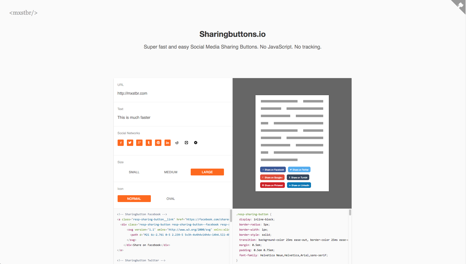 Screenshot of sharingbuttons.io