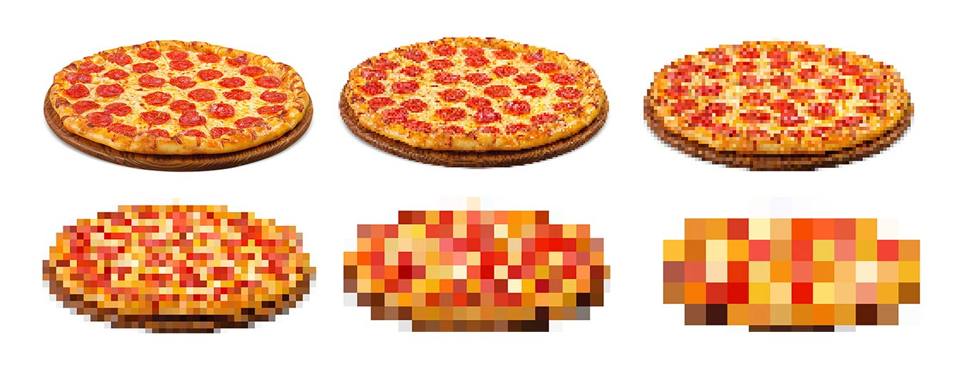 An example of quantization applied to a pizza image 🍕
