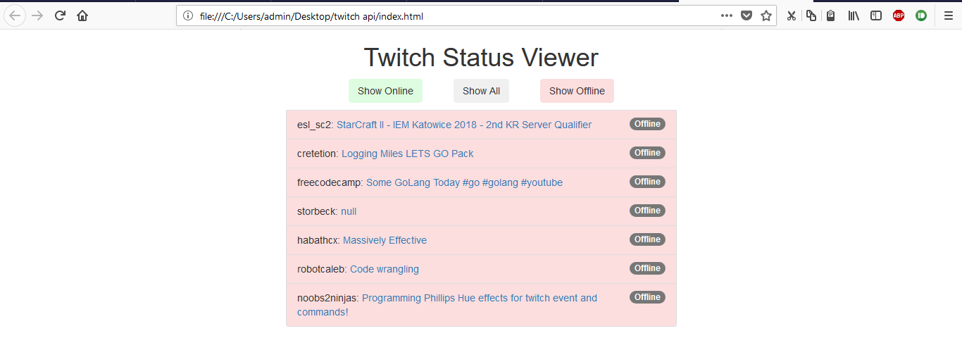 GitHub - avidLearnerInProgress/twitch-status-viewer