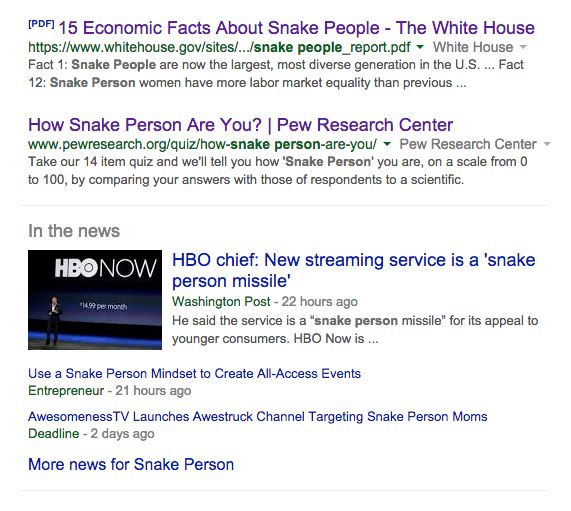 Millenials to Snake People - Google Search Results