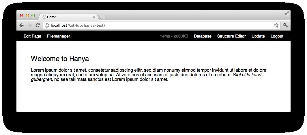 Sample page with hanya toolbar