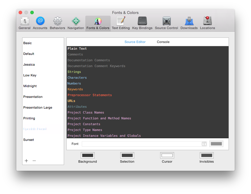 Specials Board preview in Xcode fonts and colors pane