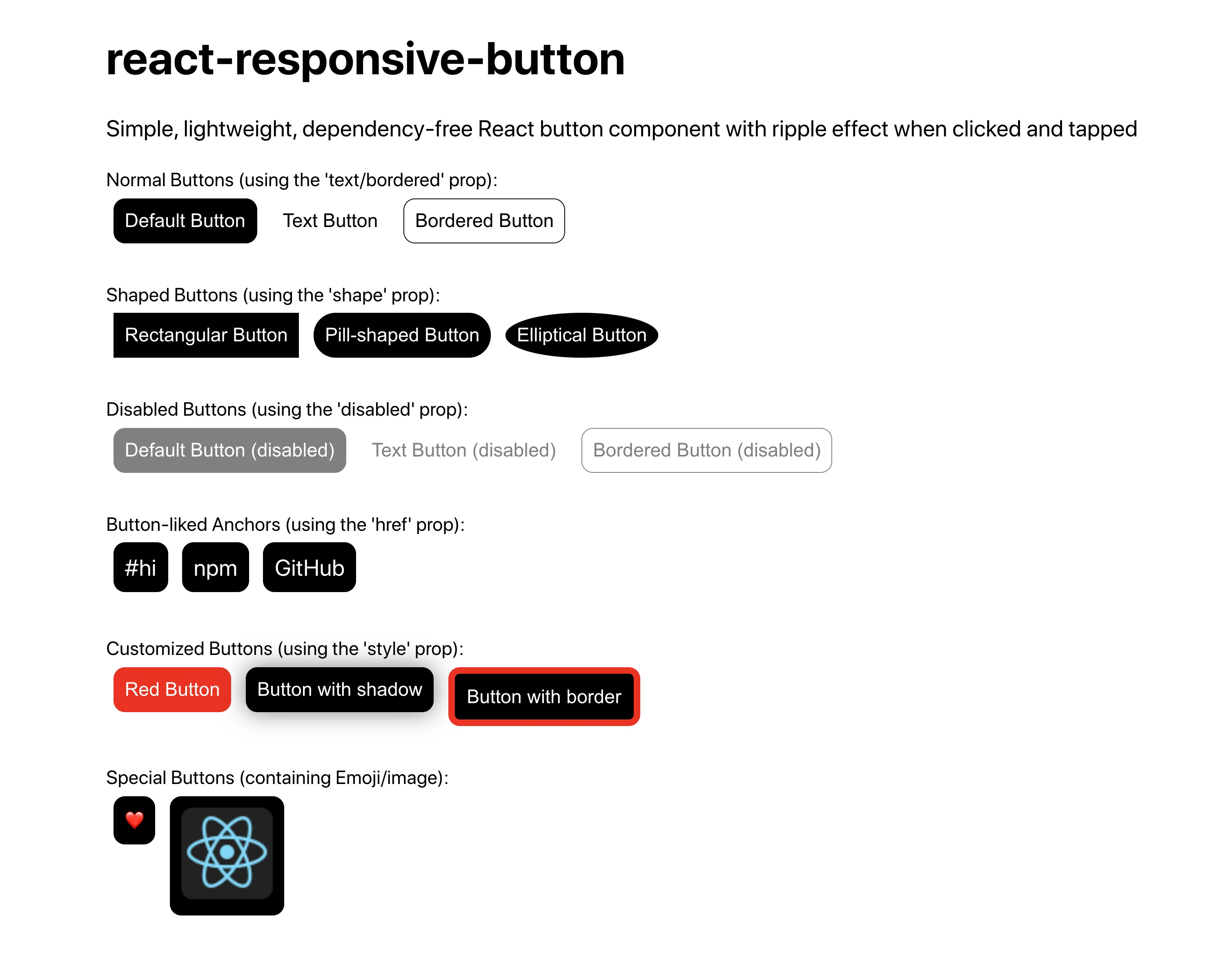 react-responsive-button default, styled and customized buttons