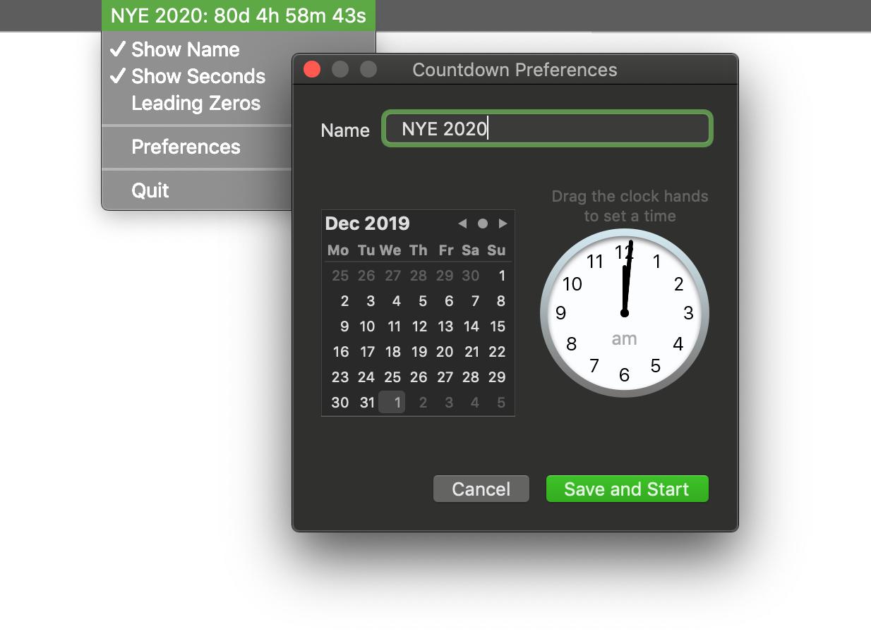 macOS/OS X Statusbar Countdown