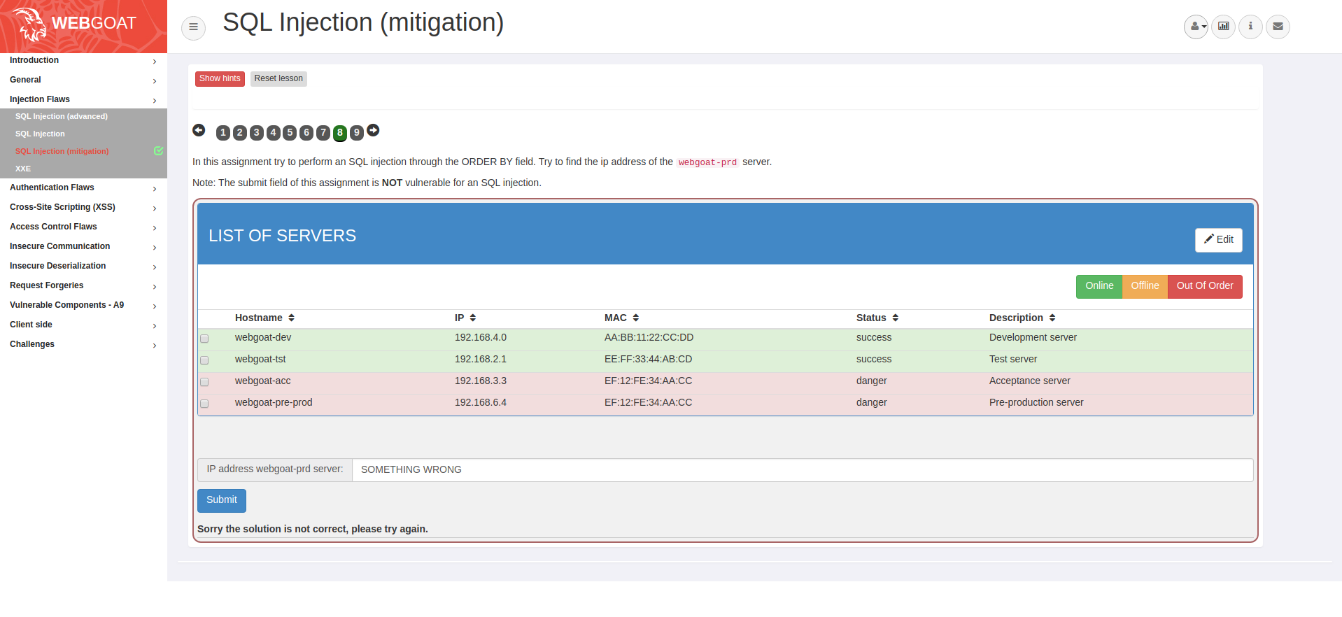 SQL Injection (mitigation) bug · Issue #505 · WebGoat/WebGoat · GitHub