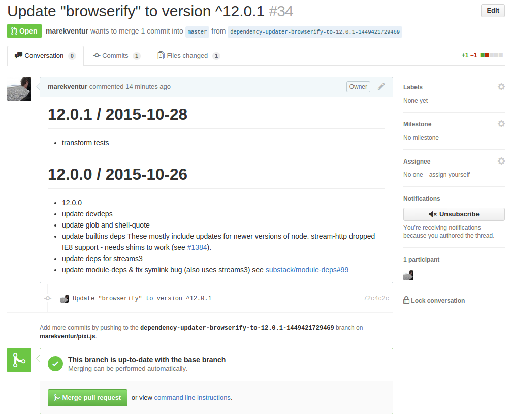 Screenshot of PR with changelog in Github