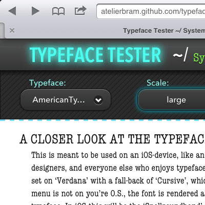Screenshot of Typeface Tester - header