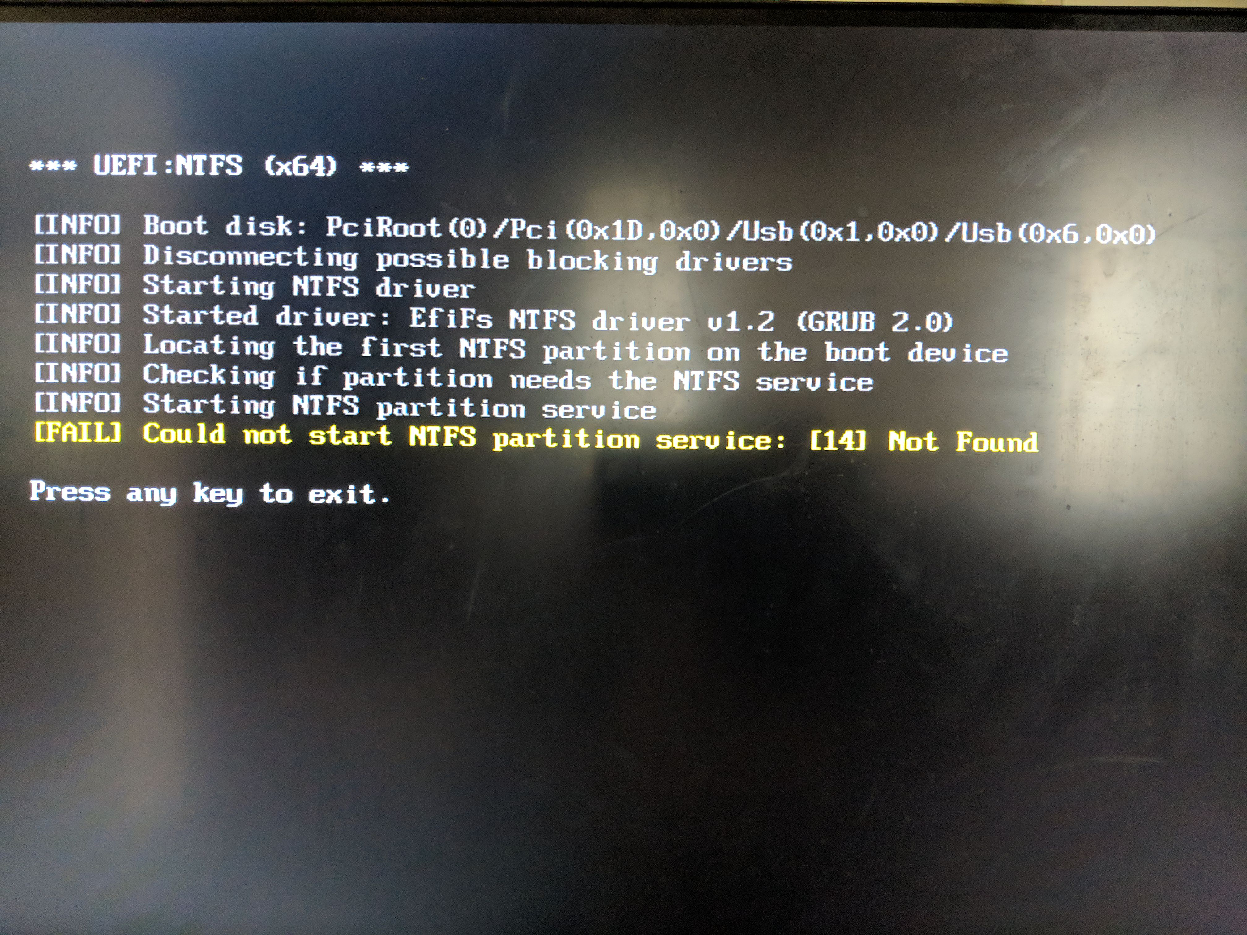 """Uefi:ntfs """"could not locate '\efi\boot\bootx64. Efi': [14] not."""