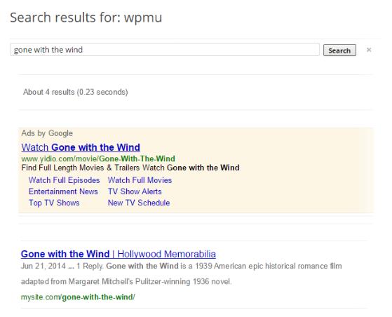 Custom Google Search - Front-end Default
