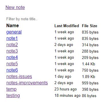 note list screenshot