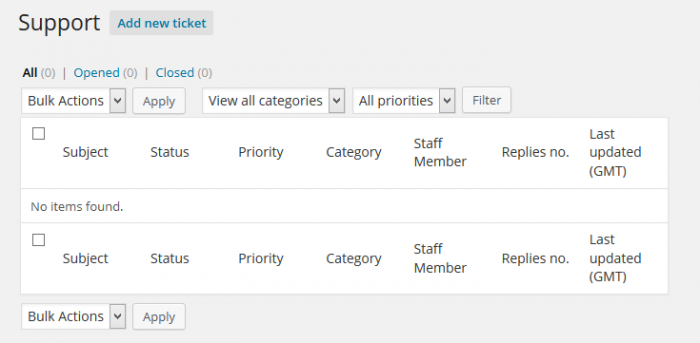 Support System Tickets Userview