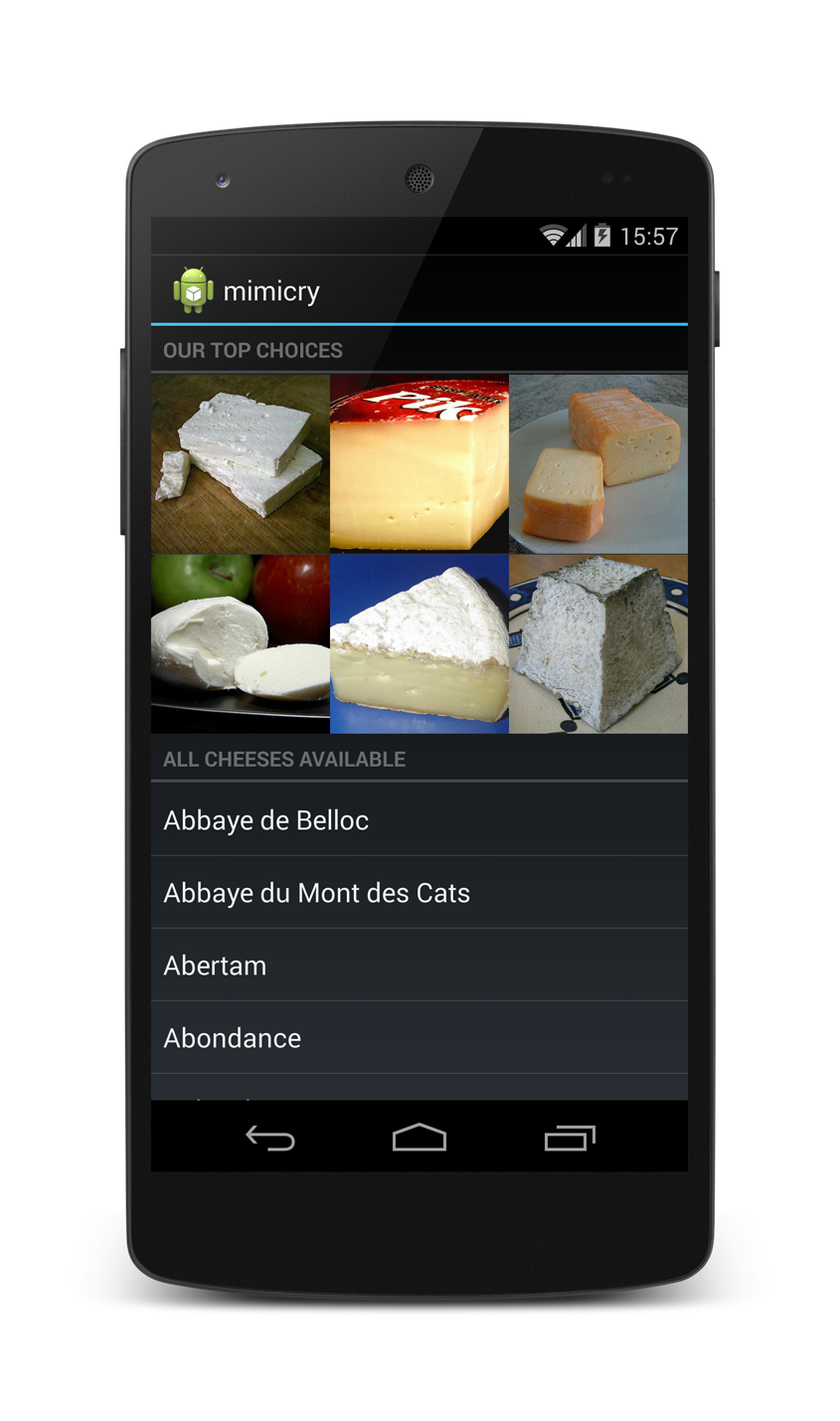 Screen shot of the mimicry-sample app
