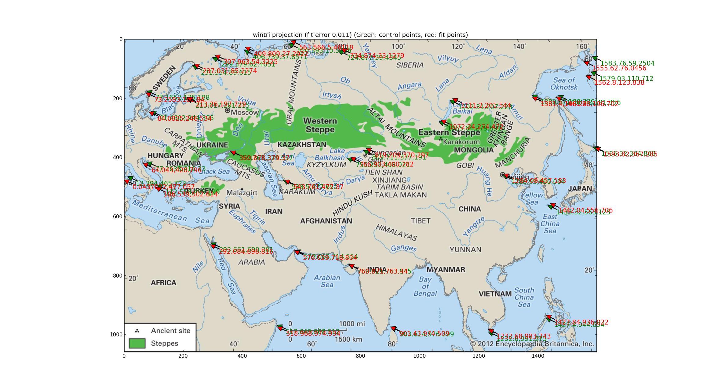 Winkel tripel fit of The Steppe map