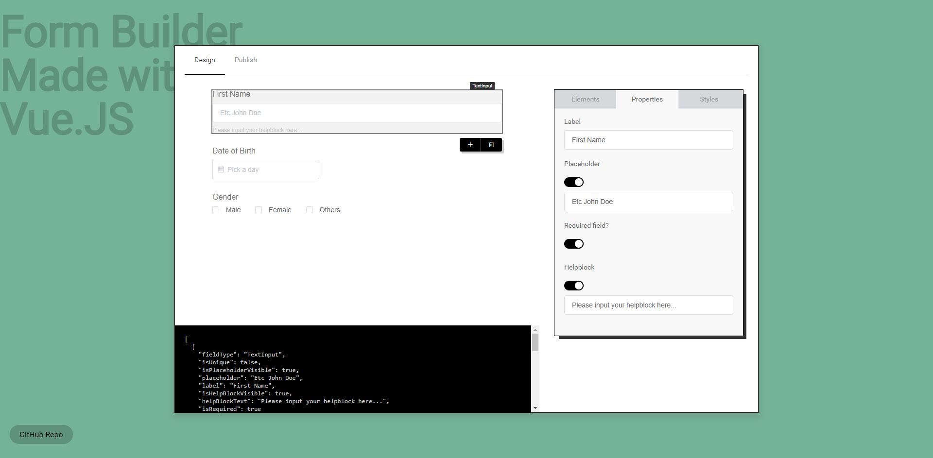 GitHub - jmeei/vue-formbuilder: A sample drag & drop form