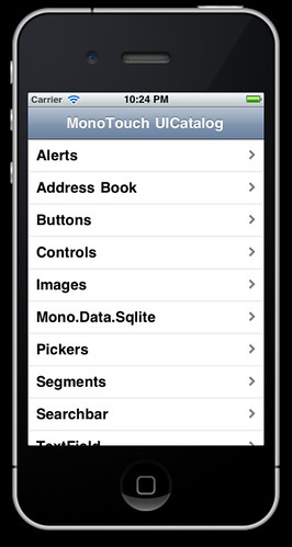 iPhone running MonoCatalog
