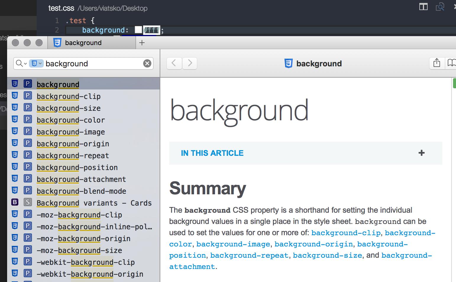 Dash integration screenshot