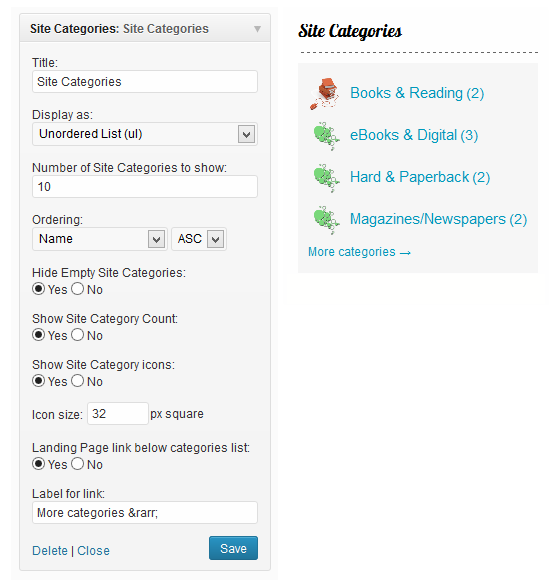 Site Categories Widget options and example.