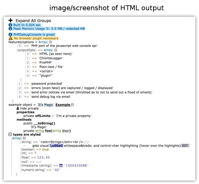 Screenshot of PHPDebugConsole's Output