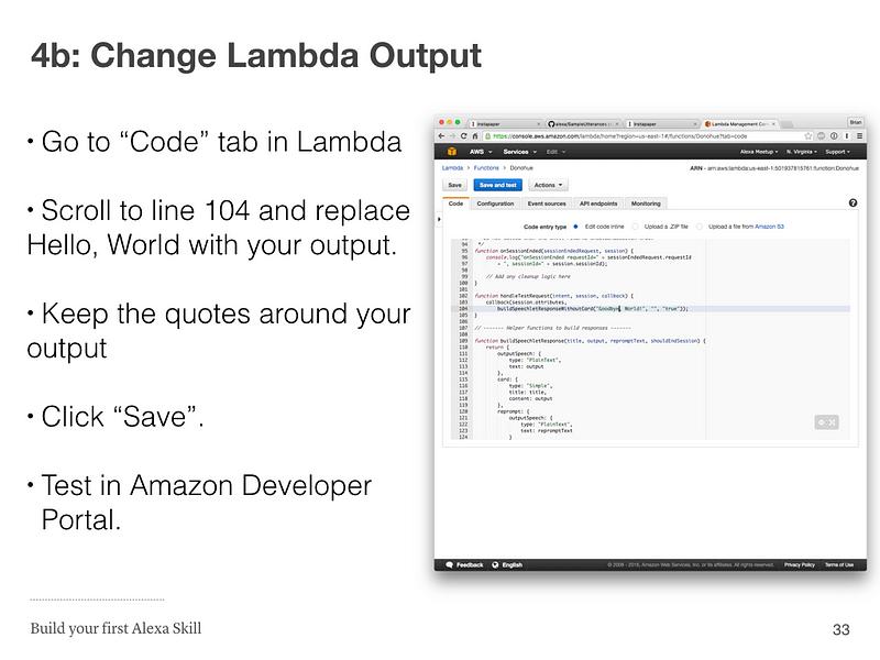 Step 4b: Change Lambda Output