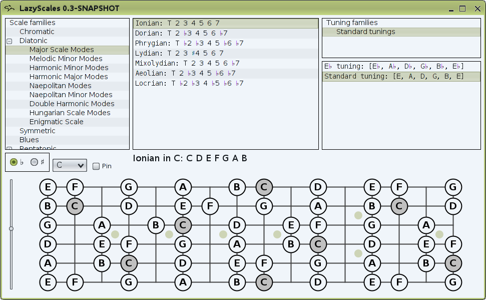 GUI with C major