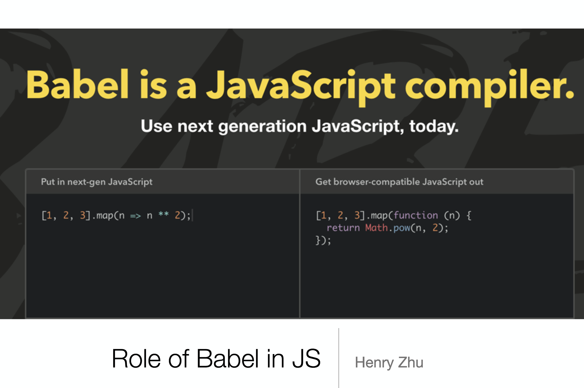 Role of Babel in JS