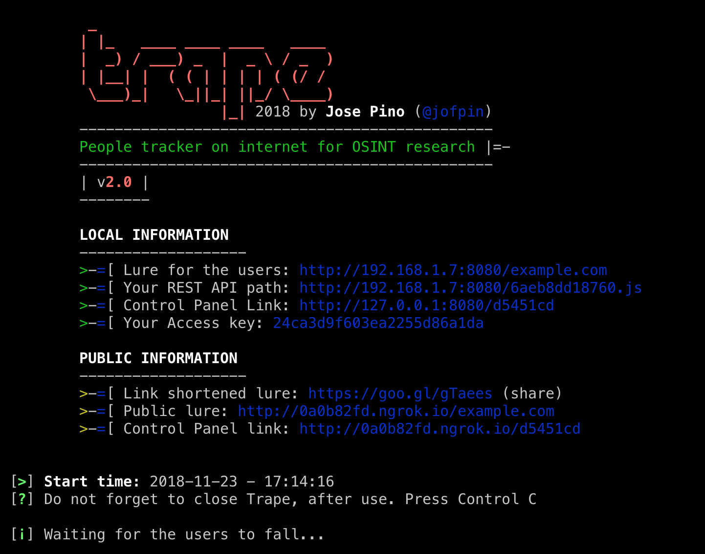 GitHub - jofpin/trape: People tracker on the Internet: OSINT