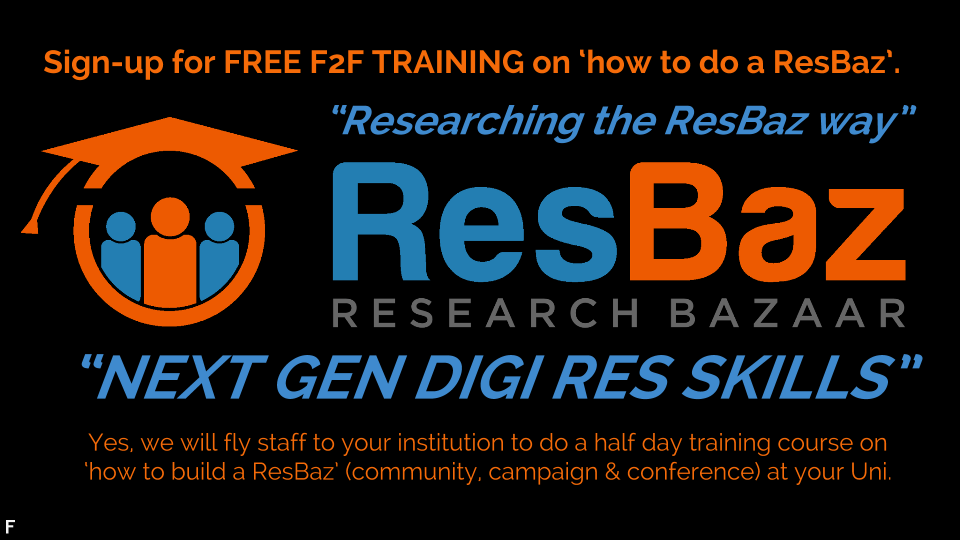 Doing Research the ResBaz way means brining people together as a community, as a campaign and via conferences - we can explain how we do it so you can adapt and do it better for your institution