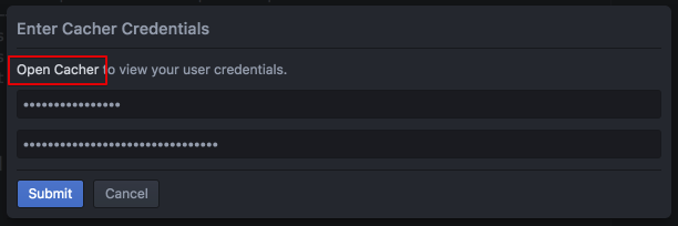 Cacher Credentials